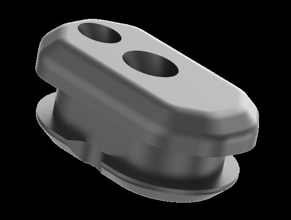 Kabeldurchführung zweifach (Seilzug und Steuerkabel LCD Rohr links)